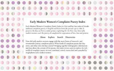 Early Modern Women's Complaint Poetry Index Launched